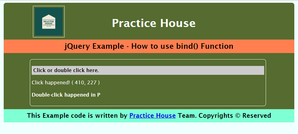 jquery bind example with click